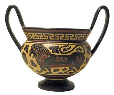 riproduzione di antico vaso etrusco corinzio