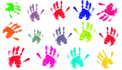 colourful hand prints