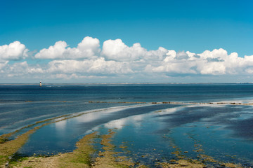 Cloudy seascape at low tide