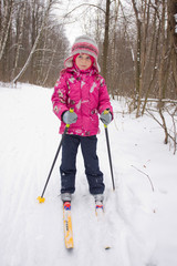 5 year old girl cross-country skiing