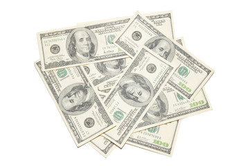 Stack american dollars isolated on white.