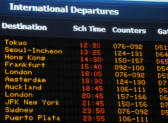 Airport information board, international departures.