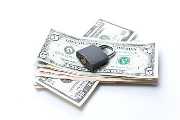 Business concept: money under the lock