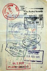 Italian passport Tahiti, Hong-Kong, Turkey, Finland stamps