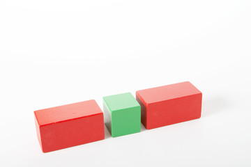 Red and green cubes