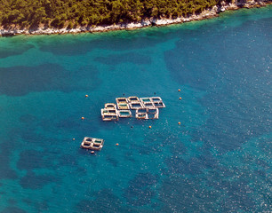 Sea fish farms, aerial view
