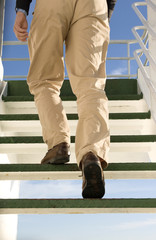 Man in staircase