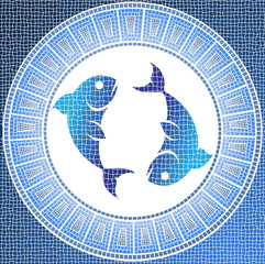 Element water: pisces zodiac sign on a mosaic