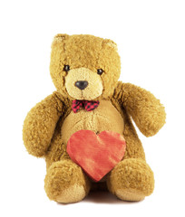 Valentine Teddy isolated on white background