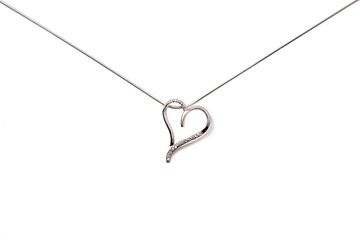 Silver chain with heart. Composition in form of post envelop