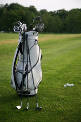 Golf-clubs with bag. Focus on bag.