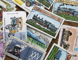 collection of  transportation stamps from different countries