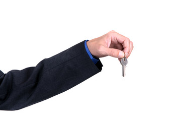 Businessman offering keys