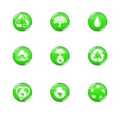icônes bio vert clair et reflets