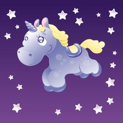 Fotobehang Pony Little Unicorn in the sky