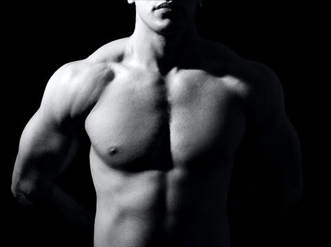 Body of man with muscular fit torso