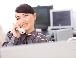 Operator talking on phone