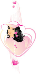 Beautiful woman in a hat among hearts. Vector