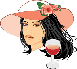Beautiful woman in a hat with glass of wine. Vector