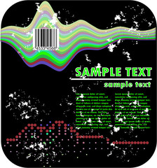 psychedelic grunge design and barcode