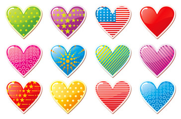 Set of glossy Valentine's day hearts