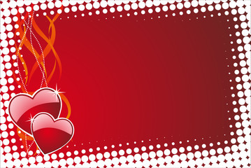 Valentine's day illustration with glossy red hearts