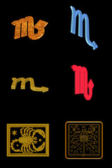 astrological sign scorpio - icons on a black background