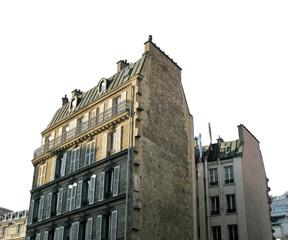 Immeubles parisiens. Fond blanc.