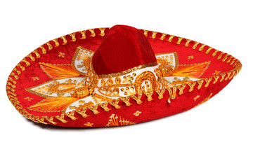 Red sombrero isolated