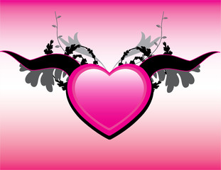 Glossy love icon with floral background.