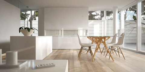 White minimalist interior with dining table