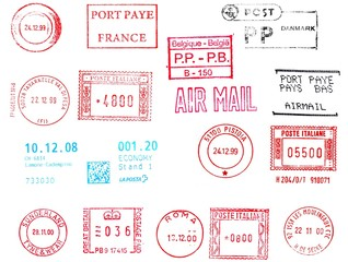 european rubber stamps, postage meters isolated over white