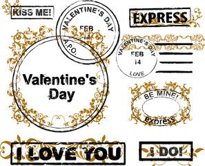 Design elements for envelope.  Valentine's day concept.