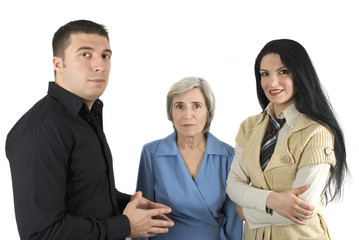 Group of three business people