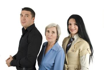 Three cheerful business people