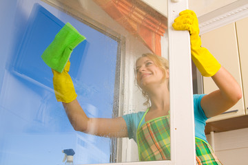 Women cleaning a window 4