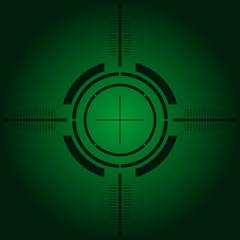 Gun sight over green simulating night vision