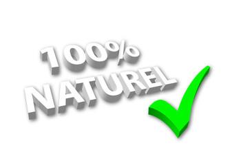 """Image 3D """"100% Naturel"""" avec coche"""