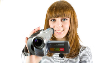 Girl using video camera