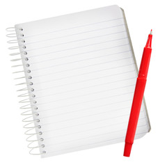 Notebook with Red Pen