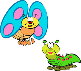 butterfly and caterpillar cartoon