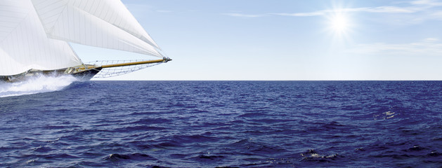 Foto auf Leinwand Segeln Segelschiff_Sonne