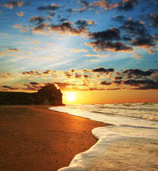 Garden Poster Cathedral Cove Sea sunset