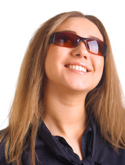 laughing women in sun glasses