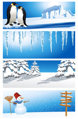 Winter background set