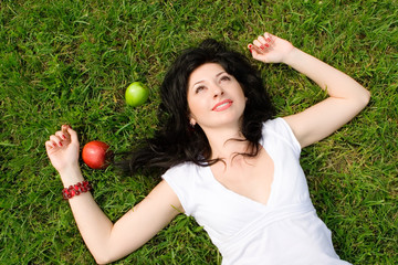 sweet woman rest on the grass