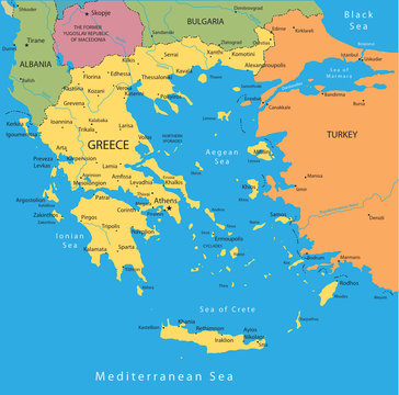 Vector map of Greece with mayor cities