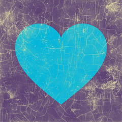 Weathered picture of a blue heart with purple backdrop
