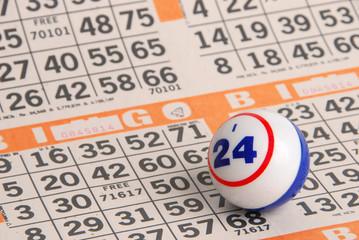 Bingo Ball on Orange Card