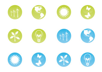 Ecological icons on shiny buttons.